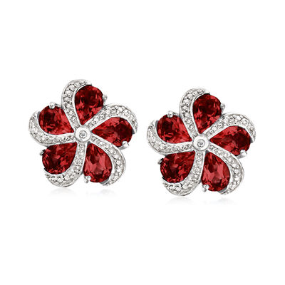 7.00 ct. t.w. Garnet Flower Earrings in Sterling Silver, , default