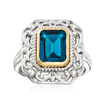 2.75 Carat London Blue Topaz Ring in Sterling Silver and 14kt Yellow Gold