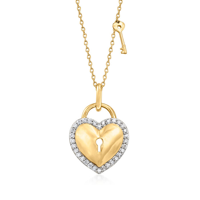 .33 ct. t.w. Diamond Heart Lock and Key Pendant Necklace in 14kt Yellow Gold