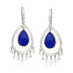 Lapis and 6.50 ct. t.w. Rock Crystal Quartz Drop Earrings in Sterling Silver, , default