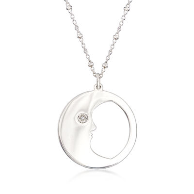 Diamond-Accented Man in the Moon Pendant Necklace in Sterling Silver, , default