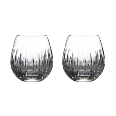 "Waterford Crystal ""Mara"" Set of 2 Stemless Wine Glasses"