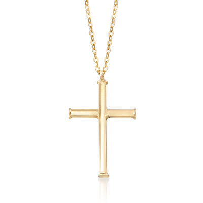 Italian Cross Necklace in 14kt Yellow Gold, , default