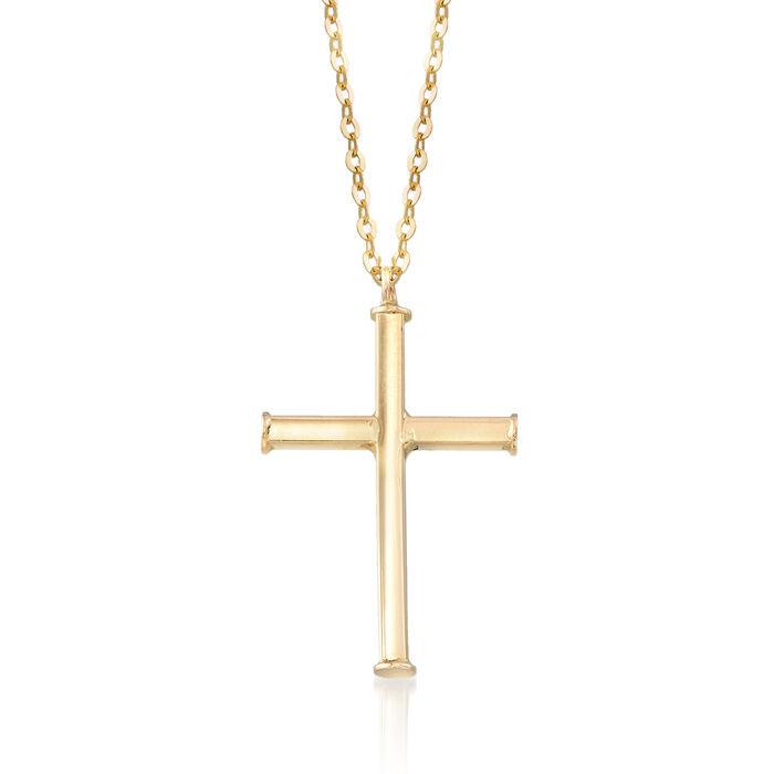 "Italian Cross Necklace in 14kt Yellow Gold. 16"", , default"