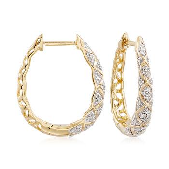 """.15 ct. t.w. Diamond Crisscross Hoop Earrings in 18kt Yellow Gold Over Sterling Silver. 3/4"""", , default"""