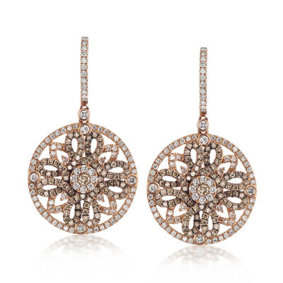 1.84 ct. t.w. White and Brown Diamond Circle Drop Earrings in 18kt Rose Gold