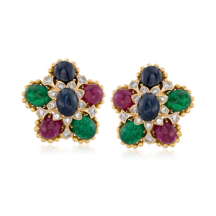 C. 1990 Vintage 21.20 ct. t.w. Multi-Stone and 1.00 ct. t.w. Diamond Floral Clip-On Earrings in 18kt Yellow Gold , , default