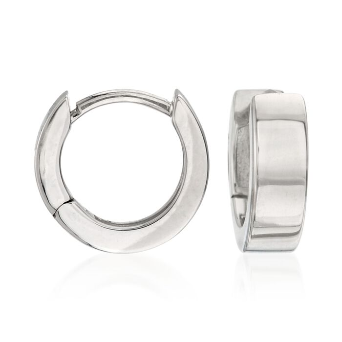 Roberto Coin 18kt White Gold Hoop Earrings. 3/8""