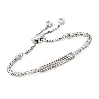"Charles Garnier ""Nardini"" .80 ct. t.w. CZ Bar Bolo Bracelet in Sterling Silver, , default"