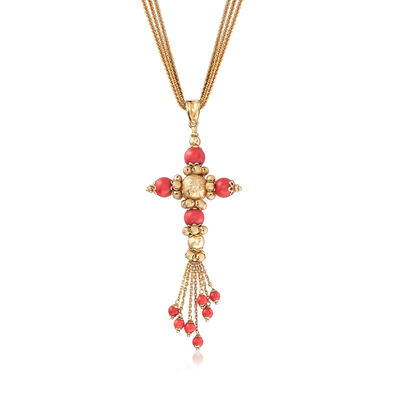 C. 1970 Vintage 3.5-7mm Coral Bead Cross Necklace in 14kt Yellow Gold, , default