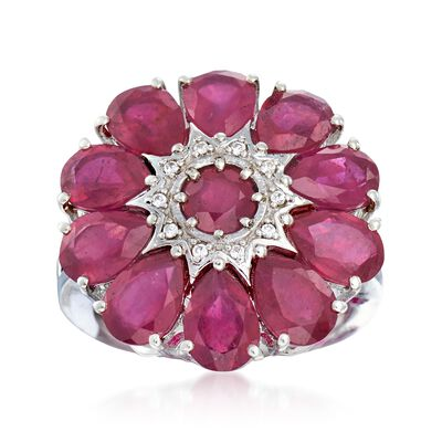 Ruby Flower Ring with White Zircon Accents in Sterling Silver, , default
