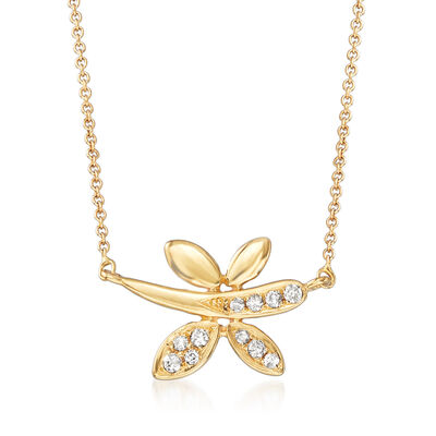 18kt Yellow Gold Dragonfly Necklace with Diamond Accents, , default