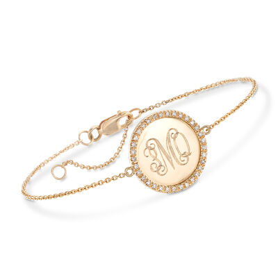 .10 ct. t.w. Diamond Monogram Disc Bracelet in 14kt Yellow Gold, , default