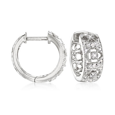 .10 ct. t.w. Diamond Hoop Earrings in Sterling Silver, , default