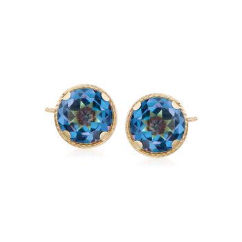 2.20 ct. t.w. Mystic Blue Quartz Stud Earrings in 14kt Yellow Gold, , default
