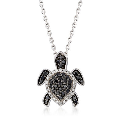 .25 ct. t.w. Black and White Diamond Turtle Pendant Necklace in Sterling Silver
