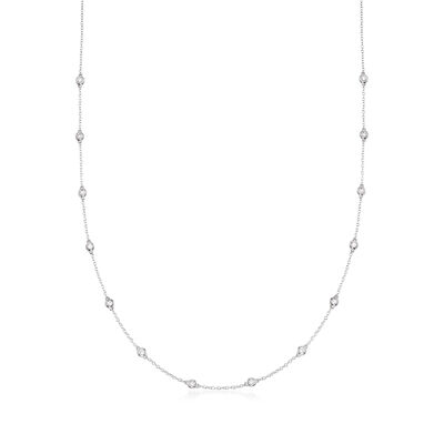 .50 ct. t.w. Bezel-Set Diamond Station Necklace in 14kt White Gold, , default