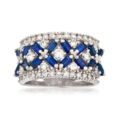 C. 1980 Vintage 2.40 ct. t.w. Sapphire and .90 ct. t.w. Diamond X Ring in 14kt White Gold