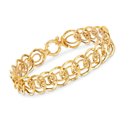 Italian 14kt Yellow Gold Multi-Circle Link Bracelet, , default