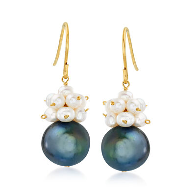 3-10.5mm Black and White Cultured Pearl Drop Earrings in 14kt Yellow Gold