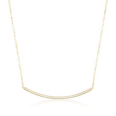 Italian 14kt Yellow Gold Curved Bar Necklace, , default