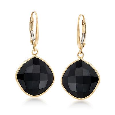 14mm Black Onyx Drop Earrings in 14kt Yellow Gold, , default
