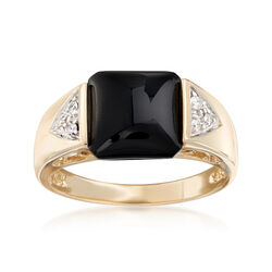 Black Onyx Cabochon Ring With Diamond Accents in 14kt Yellow Gold, , default