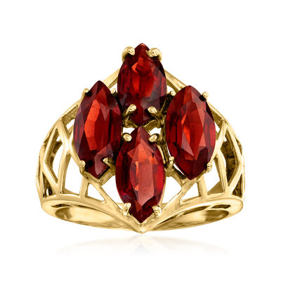 C. 1980 Vintage 5.40 ct. t.w. Garnet Cluster Ring in 14kt Yellow Gold