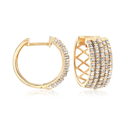 1.50 ct. t.w. Diamond Multi-Row Hoop Earrings in 14kt Yellow Gold, , default