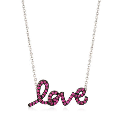 ".70 ct. t.w. Pink Sapphire ""Love"" Necklace in Sterling Silver , , default"