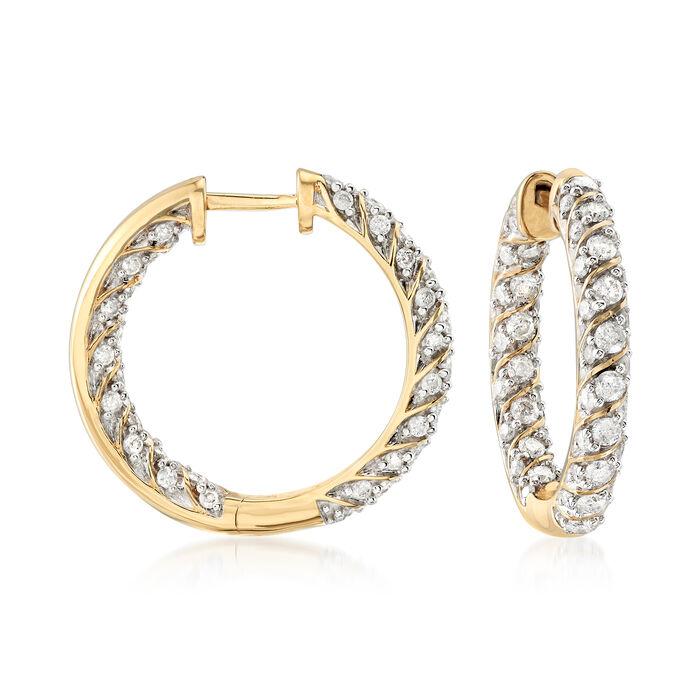 """2.00 ct. t.w. Diamond Inside-Outside Hoop Earrings in 18kt Gold Over Sterling. 7/8"""", , default"""
