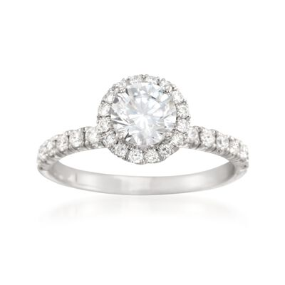 Simon G. .47 ct. t.w. Diamond Halo Engagement Ring Setting in 18kt White Gold, , default