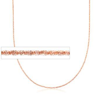 "Italian 1mm 14kt Rose Gold Adjustable Slider Crisscross Chain. 22"", , default"