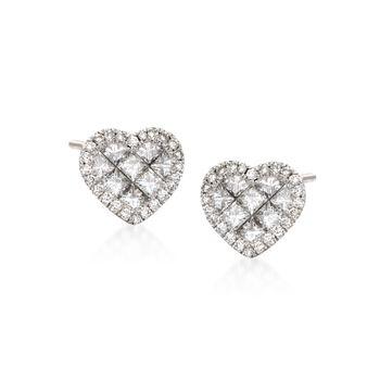 Roberto Coin .95 ct. t.w. Diamond Heart Stud Earrings in 18kt White Gold, , default
