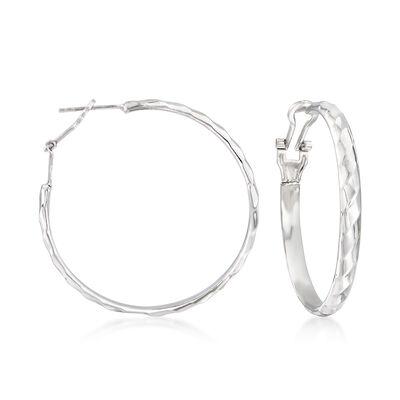 Sterling Silver Ribbed Hoop Earrings, , default