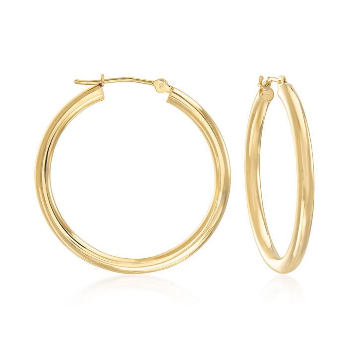 """2.5mm 14kt Yellow Gold Hoop Earrings. 1 1/8"""""""