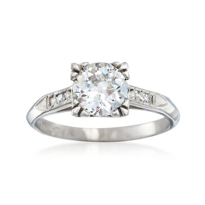 C. 1950 Vintage .93 ct. t.w. Diamond Ring in Platinum, , default