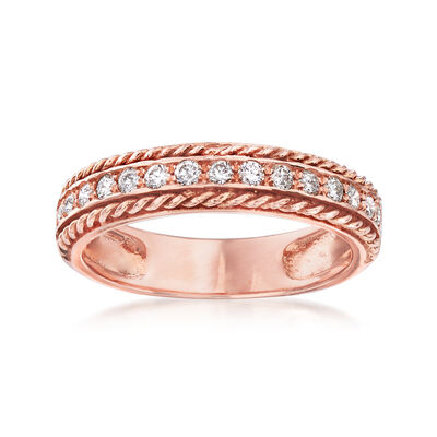 .34 ct. t.w. Diamond Roped Border Ring in 14kt Rose Gold