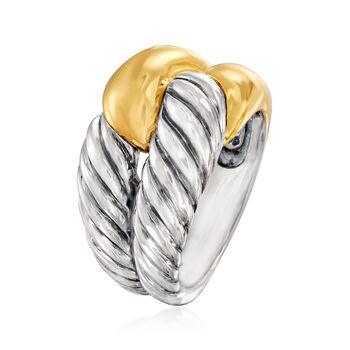 C. 1990 Vintage David Yurman Double-Row Ring in Sterling Silver and 14kt Yellow Gold. Size 5.5, , default