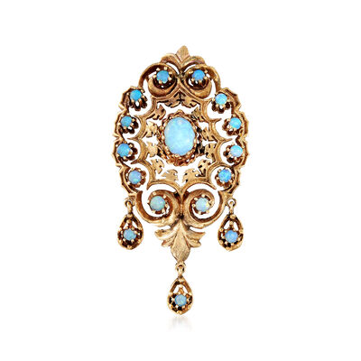 C. 1980 Vintage Opal Filigree Pin Pendant in 14kt Yellow Gold, , default