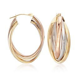 14kt Tri-Colored Gold Oval Hoop Earrings, , default