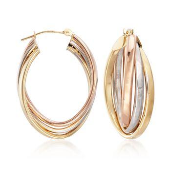"14kt Tri-Colored Gold Oval Hoop Earrings. <span class='nowrap'>1 1/8""</span>, , default"