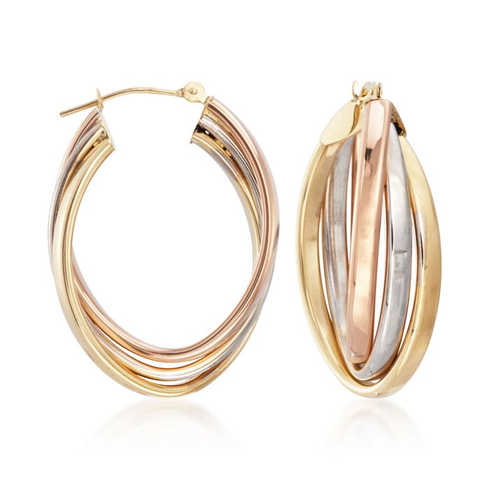 14kt Tri-Colored Gold Oval Hoop Earrings. <span class='nowrap'>1 1/8&quot;</span>, , default