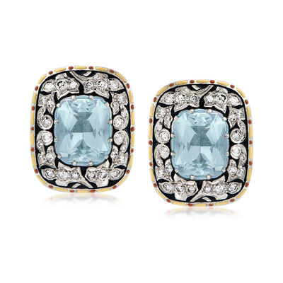 C. 1960 Vintage 7.50 ct. t.w. Aquamarine and 1.50 ct. t.w. Diamond Swirl Earrings with Multicolored Enamel in Platinum and 18kt Yellow Gold