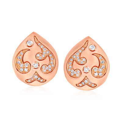 C. 1990 Vintage Piero Milano .20 ct. t.w. Diamond Teardrop Earrings in 18kt Rose Gold