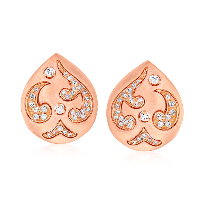 C. 1990 Vintage Piero Milano .20 ct. t.w. Diamond Teardrop Earrings in 18kt Rose Gold