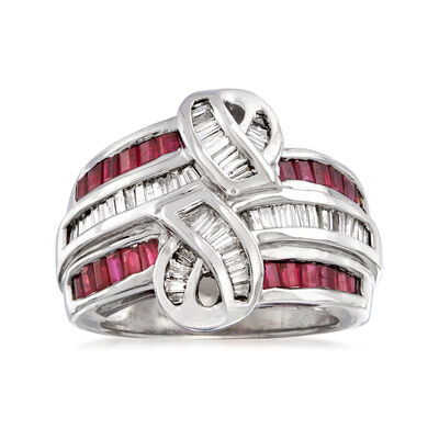 C. 1980 Vintage 1.25 ct. t.w. Ruby and .90 ct. t.w. Diamond Swirl Ring in 14kt White Gold