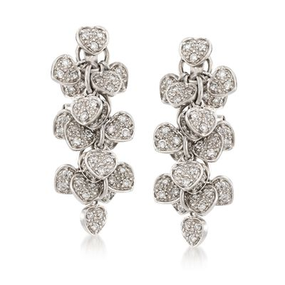 C. 1990 Vintage 1.00 ct. t.w. Diamond Heart Cluster Drop Earrings in 18kt White Gold, , default