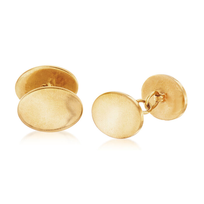 C. 1960 Vintage Tiffany Jewelry 18kt Yellow Gold Oval Cuff Links
