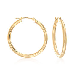 "2.5mm 14kt Yellow Gold Hoop Earrings. 1 1/8"", , default"